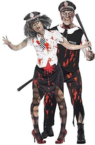 Fancy Me Herren & Damen Paar Kostüm Toter Zombie Polizei WPC Polizist Polizistin Gesetz Vollzug Notfall servives Halloween Kostüme Party Outfits - Schwarz, Ladies UK 12-14 & Mens Large