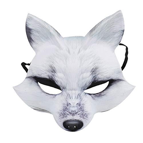 Amosfun Halloween Fox Maske Cosplay Kostüm Halbes Gesicht Tier Kopfbedeckungen Mützen Fox Halbes Gesicht Maske Kostüm Tier Maske Cosplay Kostüm für Halloween Karneval Maskerade