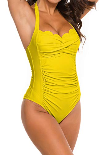 B2prity Women's One-Piece Swimsuit Tummy Control Halter Neck...