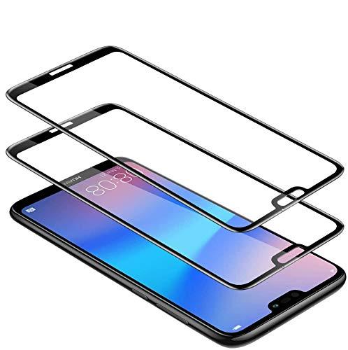 WEOFUN [2 Stück Panzerglas Schutzfolie für Huawei P20 lite, mit (9H Härte) (Anti-Kratzen)(Blasenfrei)(volle Bedeckung) Displayschutzfolie-[Schwarz]