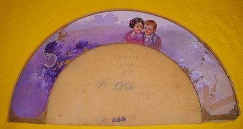 Antiguo País en Seda - ACUARELA Original para ABANICO - Tema niños....