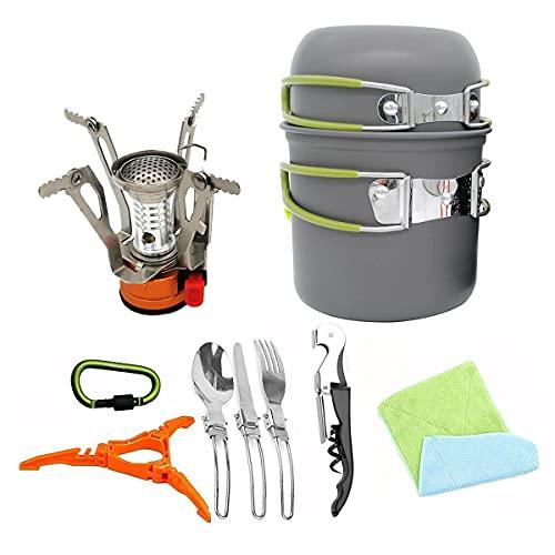 RYHRHT Provetta Escursionismo Pentole Pot di Campeggio Bowl Stufa Set Burner Portable Backpacking Outdoor...