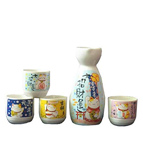 Initial heart 5 PCS Licor Sake japonés Copas de Vino Set de Porcelana Tradicional Temperatura Crafts Taza de cerámica,Beige