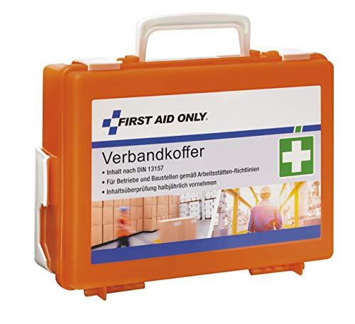 *First Aid Only Verbandkoffer mit Griff, DIN 13157, inklusive Trennscheiben, Wandhalterung, Schrauben und Dübeln, orange, P-10020*