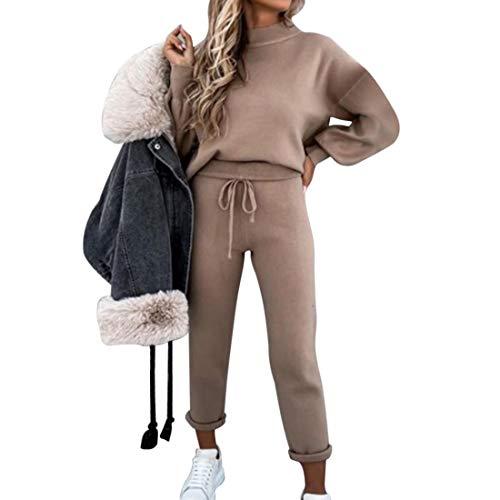 MoneRffi Damen Trainingsanzug Set Loungewear Set 2-teiliges Set Damen Sport Casual Loose Pullover Tops + Lange Hosen Jogginganzug Sportswear Laufset für Damen(F-Khaki,M)