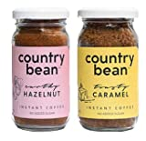 Country Bean Instant Coffee Powder with Hazelnut and Caramel Flavours, 60g - Pack