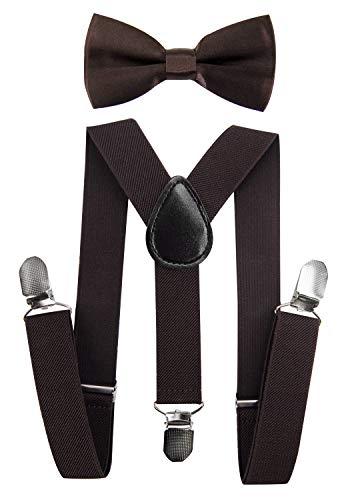 axy Hochwertige Kinder Hosenträger-Y Form mit Fliege- 3 Clips EXTRA STARK-Uni Farben (Dunkelbraun)
