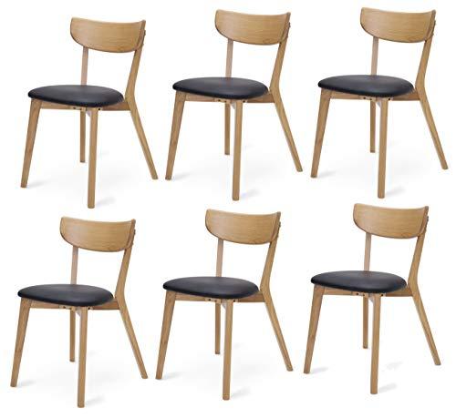 Dynamic24 6X Holzstuhl Peru Kunstleder Esszimmerstuhl Eiche schwarz Stuhl Set Küchenstuhl