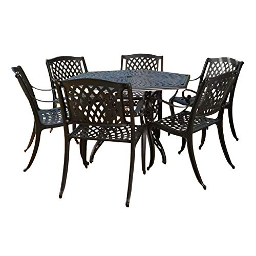 Christopher Knight Home Hammond Outdoor Cast Aluminum Patio Dining Set in Bronze, 7-Pcs Set, Antique Matte Black