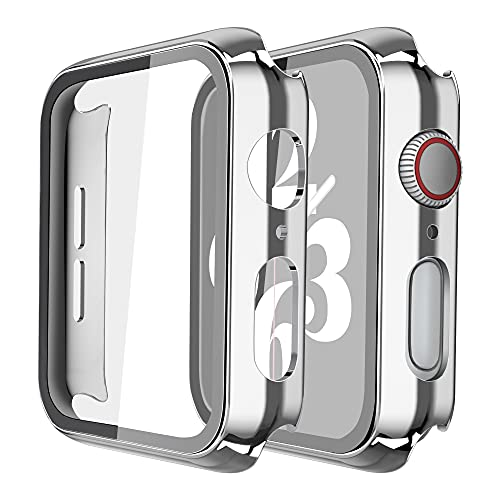 Misxi 2 Pack Hard PC Case with Tempered Glass Screen Protector Compatible with Apple Watch Series 6 SE Series 5 Series 4 40mm, 1 Sliver + 1 Transparent
