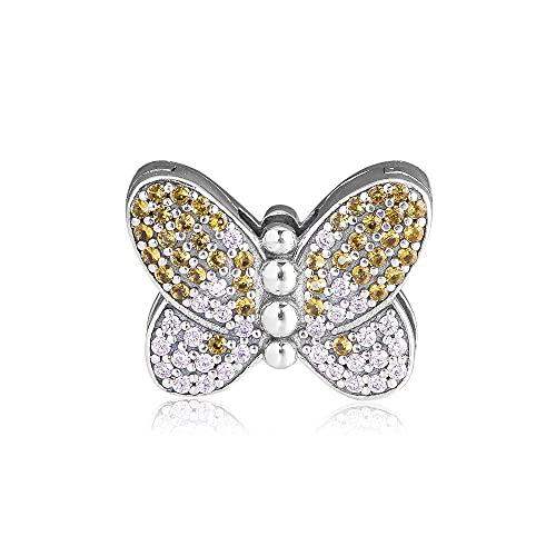 Pulsera Pandora 925 Reflexion Clip de mariposa deslumbrante Plata de ley por fabricación de cuentas Diy Jewelry