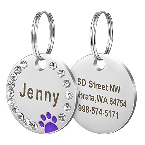 Didog Stainless Steel Custom Engraved Pet ID Tags,Round Crystal Rhinestones Tags with Pretty Paw Print,Double-Side Laser Engraving Tags Fit Small Medium Large Dogs and Kittens,Purple