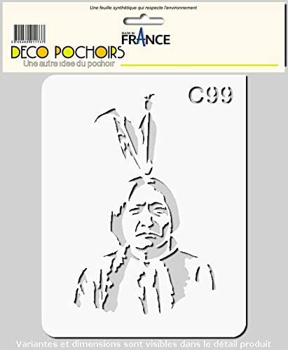 decopochoirs Pochoir Chef Chef Indien Sitting Bull Taille XS Feuille 94x121 mm
