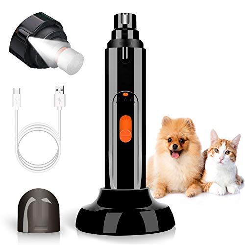 Dog Nail Grinder with LED Light, Pet Nail Trimmer Upgraded 3-Speed Electric Rechargeable Dog Nail Clipper with Wireless Charger Mount, Professional Pet Nail Grinder for Large Medium Small Dog and Cat