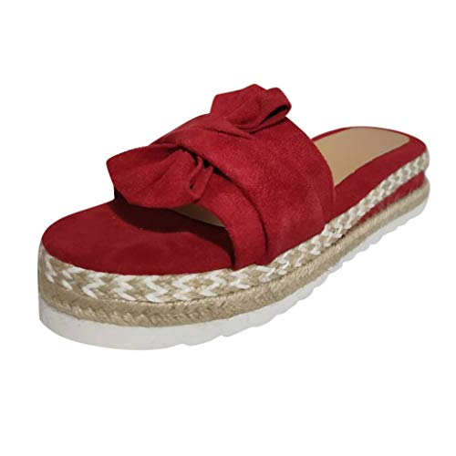 LONGTING Women's Summer Slip-On Bow Flat Beach Open Toe Breathable Sandals Weave Shoes Red