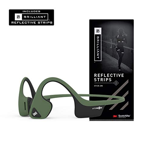AfterShokz Air Open-Ear Wireless Bone Conduction Headphones with Brilliant Reflective Strips, Forest Green,...