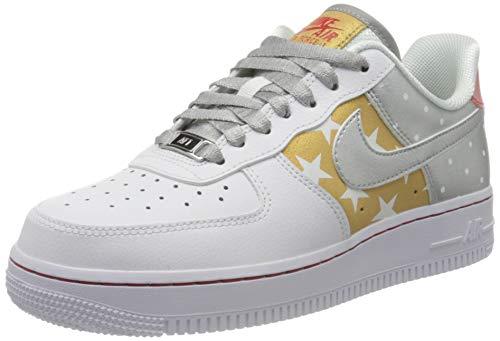 Nike WMNS Air Force 1 '07, Chaussure de Basketball Femme, White/Metallic Silver-Metallic Gold, 36 EU
