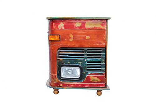 Sit Möbel LKW-Kommode/Barschrank, This & That, LKW-Kühlergrill mit Deckplatte BZW. Rückseite aus Buntem Altholz, Rot, Deckplatte Bunt, Innen 1 Boden