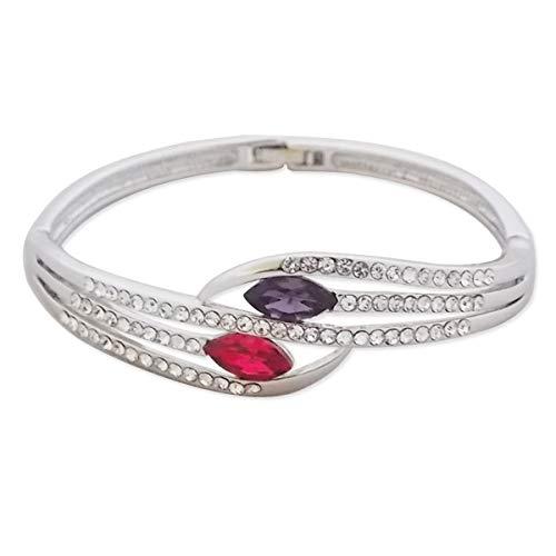 Pulsera falsa magenta y piedras de color púrpura, diamantes de imitaci