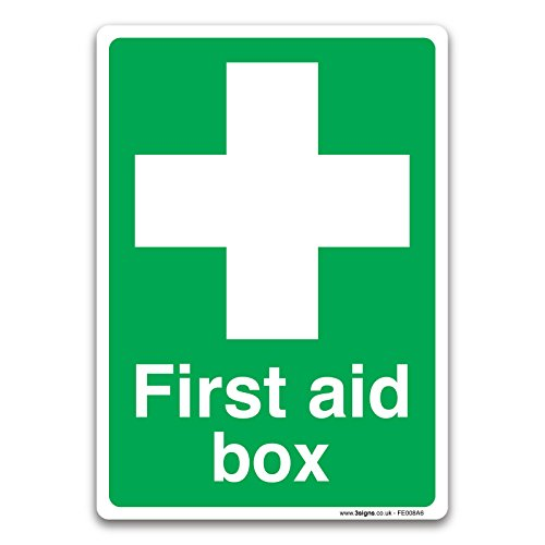 British Standard First Aid Safety Sign - First Aid Box - by stika.co (self adhesive vinyl, 105mm x 148mm A6) by stika.co