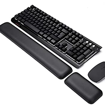 Leather-Gel Aelfox Keyboard Wrist Rest and Mouse Wrist Rest Set Ergonomic Wrist Support Mouse Pad Wrist Pad Relieve Wrist Pain for Full Size Gaming Keyboard and Mouse Laptop Computer Home Office