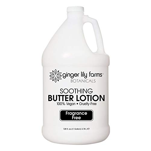 Ginger Lily Farms Botanicals Fragrance-Free Soothing Butter Lotion, 100% Vegan, Paraben, Sulfate, Phosphate, Gluten & Cruelty-Free, 1 Gallon (1-Pack)