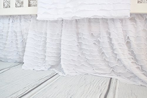 A Vision to Remember White Crib Bed Skirt Dust Ruffle, Luxury Bedding Baby Girl Boho Farmhouse Nursery Toddler Bedroom