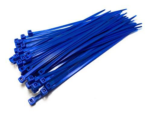 Nylon kunststof kabelbinders lang en breed extra grote ritssluitingen van kunststof zwart en wit folie - blauw, 4,8 x 200 mm