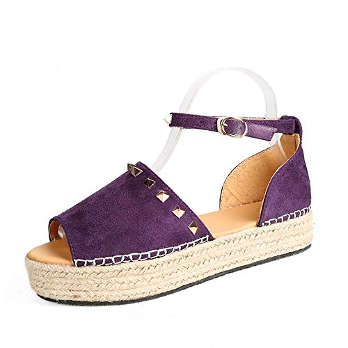 Plataforma Sandalias Mujer, Fondo Grueso Punta Abierta Sandalias Cuña Planas Elegante Moda Zapatos Púrpura Rosa Leopardo Tamaño 35-43