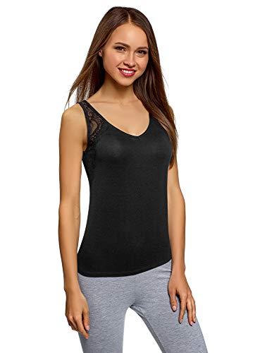 oodji Ultra Mujer Camiseta de Viscosa con Acabado de Encaje