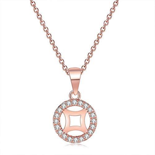 GBX Moda hueca geométrica CZ colgante collar glamuroso femenino oro rosa cadena de cobre forma de mujer boda fiesta joyería regalo oro rosa