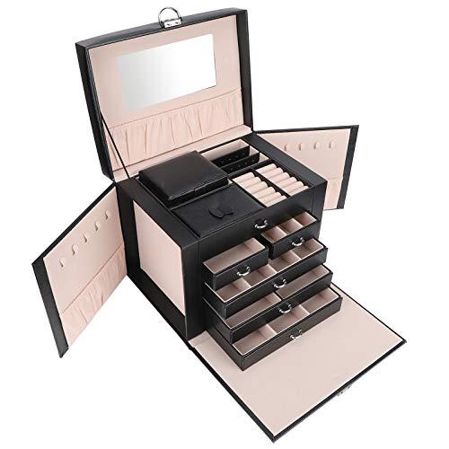 Caja de almacenamiento de joyería, caja de almacenamiento de joyería 5 capas Caja de joyería Pendientes Vitrina de joyería Pendiente Organizador de collar Regalos de boda