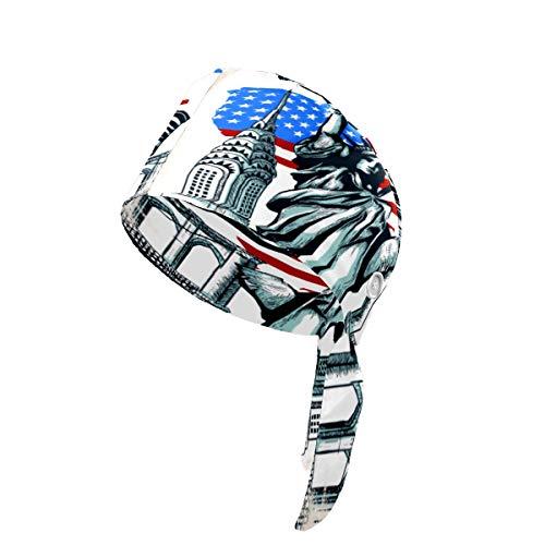 United States Landmark Map Working Cap with Sweatband Adjustable Tie Back Hats Unisex for Women Men