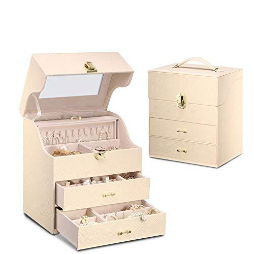 XHLLX Caja De Joyería Organizador Caja De Cuero De Tres Capas Caja De Almacenamiento De Exhibición con Cerradura Y Espejo