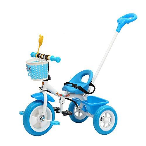Aocean Triciclo Bicicletta Bambini,Triciclo Evolutivo Trike para Niños +18 Meses con Extraíble Plegable Pedales Barra Telescópica para Padres Triciclo de Empuje, Blue