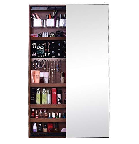 LHY SAVE Schmuckschrank hängend wandspiegel Schiebetür abschließbar Spiegelschrank an der Tür hängend schmuckkästchen Geeignet für Bad, Schlafzimmer, 14.5 * 47.2 * 3.9inche,Braun,Right Push