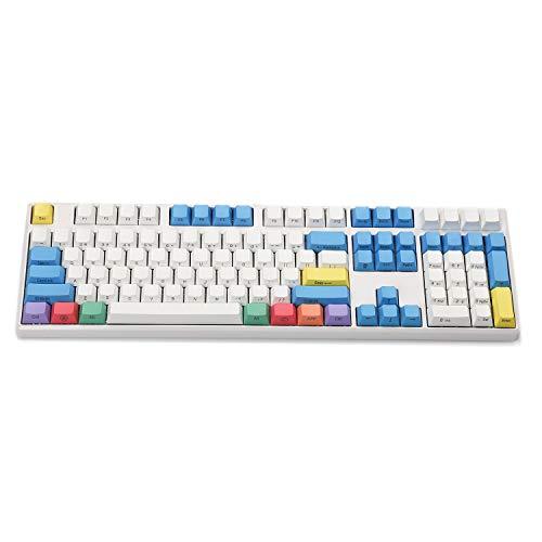 YMDK 108 Key Cherry Profile ANSI Laser Engraved PBT Chalk Keyset Keycap for Cherry MX Switches Mechanical Keyboard (Side Print)