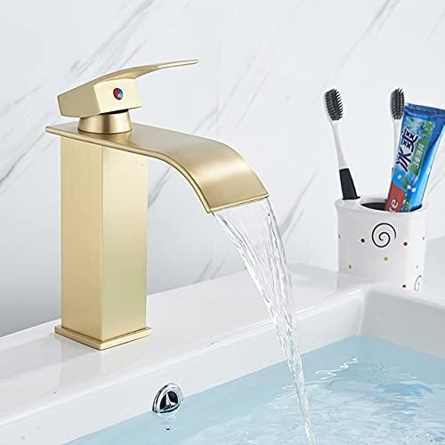 Grifo de lavabo de baño dorado, caño de cascada, grifo de fregadero, grifo deagua,agua fría caliente con una sola manija, oro cepillado A, China