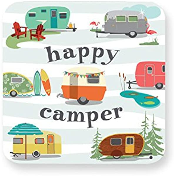 Design Design Happy Camper Paper Coasters Multicolor