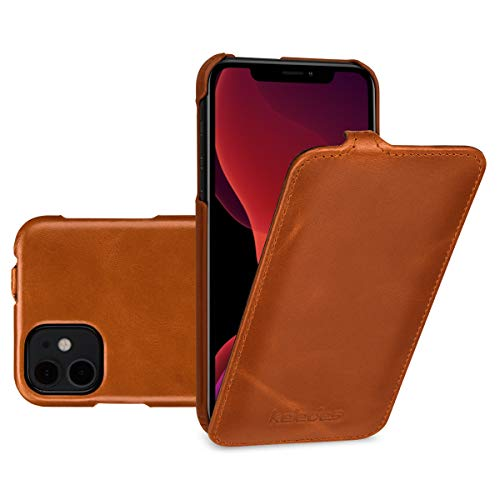 keledes Funda iPhone 11, Funda Cuero iPhone 11, Delgado Funda Piel Genuino Carcasa Flip Cover Case con Apertura Vertical para iPhone 11, Coñac Marrón