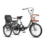 OHHG Triciclo Adultos, 3 Ruedas, 20 Pulgadas, Tres Ruedas, Bicicleta Crucero, Deportes al Aire Libre Cesta la Compra Asiento Trasero Personas Mayores, Mujeres, Hombres, (Color: Negro)