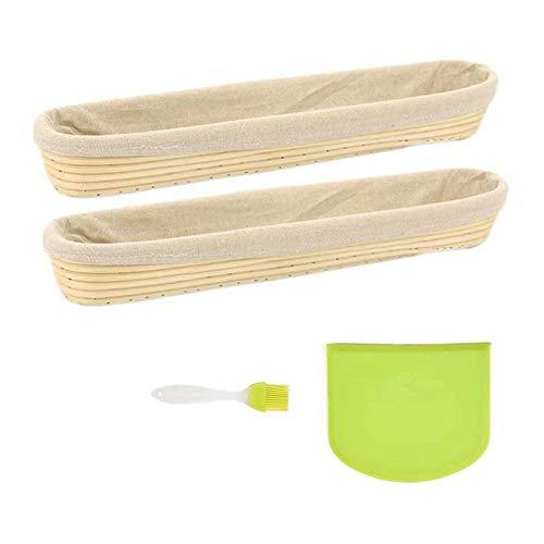 Brotkorb Tuch 2 Packung mit Banneton Brot Proofing Korb, Brotkorb mit Leinen Liner Set, Solicone Pinsel, Teigschaber, 17 Inces (Color : White)