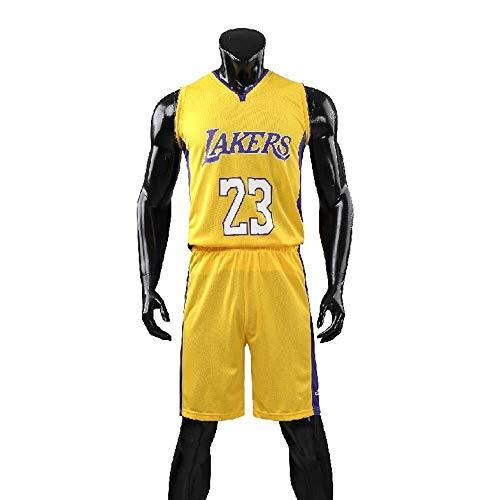 ASSD Conjunto de uniforme de baloncesto para hombre, NBA Lakers #23, camiseta clásica de baloncesto Swingman sin mangas, color amarillo, talla: XL)