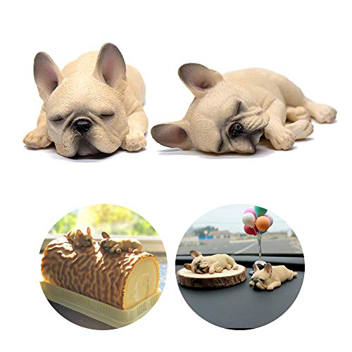 Cream French Bulldog Frenchie Realistic Collectible Miniature Decorative Cake Topper Bookshelf Sleeping Figurines Sculpture Set of 2
