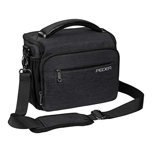 PEDEA DSLR-Kameratasche Noble Fototasche für Spiegelreflexkameras mit wasserdichtem Regenschutz, Tragegurt und Zubehörfächern, Gr. XL anthrazit