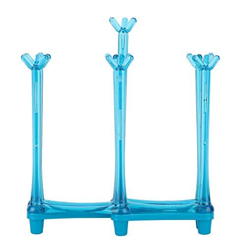 7 Pijlers Opwaartse Cup Drain Rack, Creatieve Stretch Mok Cup Droogrek Drinkglas Fles Drainer Stand Drogen Glazen Houder Cup Rack voor Thuis Tafel Opslag Blauw