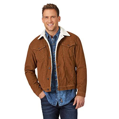 Wrangler Men's Western Sherpa Lined Trucker Jacket, Monk's Robe Corduroy, Medium