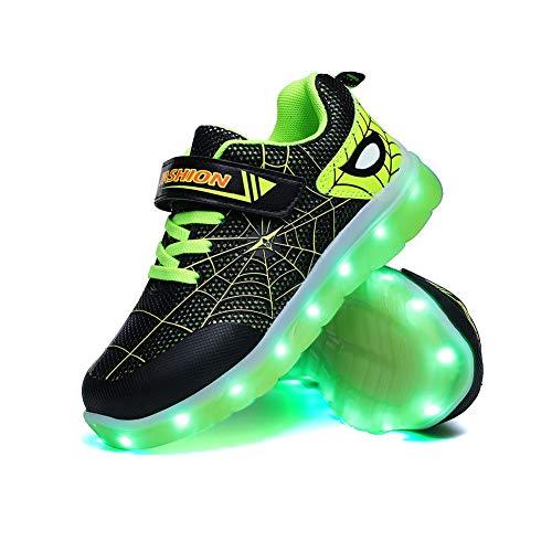 Spider Kid Niñas Niñas LED Zapatos Iluminados Entrenadores Niños Carga USB Intermitente Bajo Top Zapatillas Mejor Regalo Cumpleaños Halloween Día de Navidad, color Verde, talla 24 EU