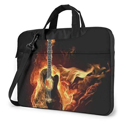 Music Fire Guitar Laptop Bag 15.6 Inch Shoulder Messenger Bag Computer Tote Briefcase for Work School