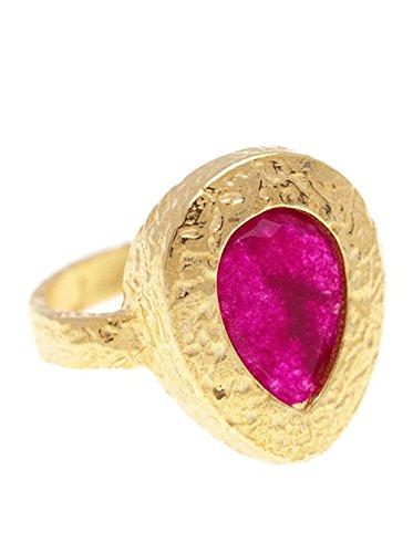 Córdoba Jewels | Anillo en Plata de Ley 925 bañada en Oro. Diseño Gota Imperium Rubí Oro